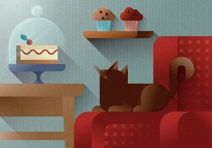 Brown cat watching a sweet cake slice from a red sofa armrest , art print illustration by Francesco Faggiano illustrator