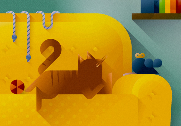 Tabby cat playing with its toys on a yellow sofa, art print illustration by Francesco Faggiano illustrator
