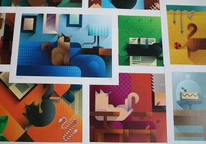 Preview of some Cats and Sofas printed artworks, art print illustration by Francesco Faggiano illustrator