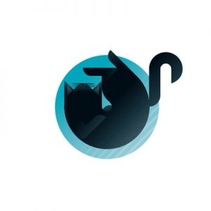 Black cat with azure background icon, illustration by Francesco Faggiano illustrator