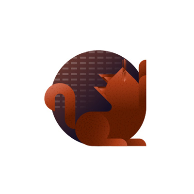 Red cat with brown background icon, illustration by Francesco Faggiano illustrator