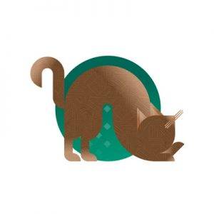 Brown cat with green background icon, illustration by Francesco Faggiano illustrator