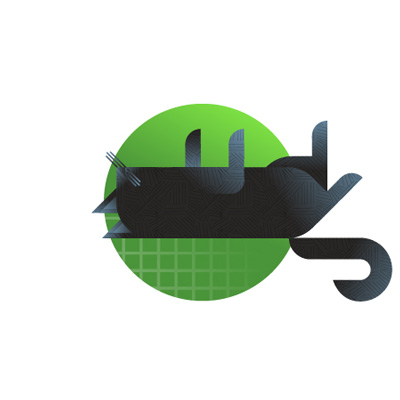 Black cat with lime background icon, illustration by Francesco Faggiano illustrator