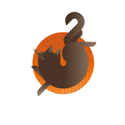 Brown cat with orange background icon, illustration by Francesco Faggiano illustrator