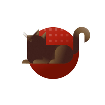 Brown cat with red background icon, illustration by Francesco Faggiano illustrator