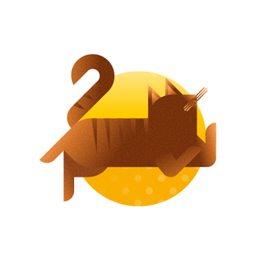 Tabby cat with yellow background icon, illustration by Francesco Faggiano illustrator