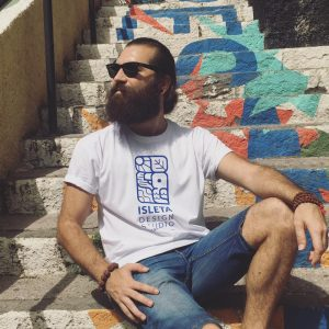 picture of francesco faggiano illustrator with isleta design studio t-shirt