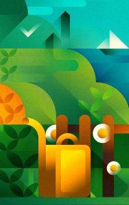 A green garden next to the sea, illustration by Francesco Faggiano illustrator