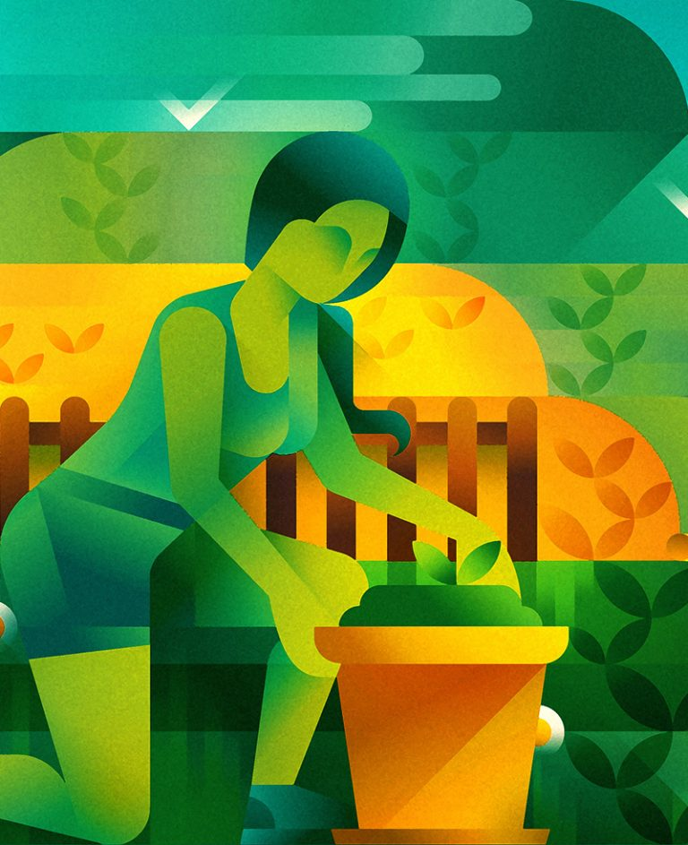 A woman with green skin working on her garden next to the sea, illustration by Francesco Faggiano illustrator