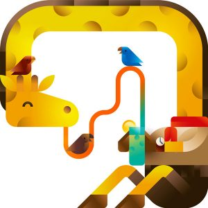 A funny scout giraffe drinking its lemonade with some tiny parrots, illustration by francesco faggiano illustrator
