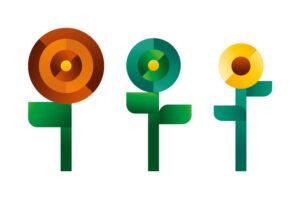 three geometric flowers icon, illustration by Francesco Faggiano illustrator