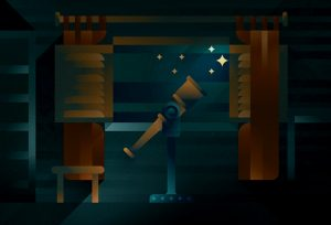 A telescope in a dark room next to an open window, illustration by Francesco Faggiano illustrator