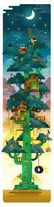 A giant cactus tree holding the house of a smart monkey that watch the sky with a telescope, illustration by Francesco Faggiano illustrator