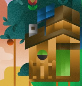A monkey house with solar panels on a cactus tree, illustration by Francesco Faggiano illustrator
