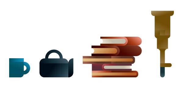 Mug, teapot, books and telescope icons, illustration by Francesco Faggiano illustrator