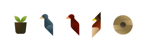 Plant pot, birds and hive icons, illustration by Francesco Faggiano illustrator
