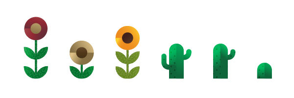 flowers and cactus icons, illustration by Francesco Faggiano illustrator