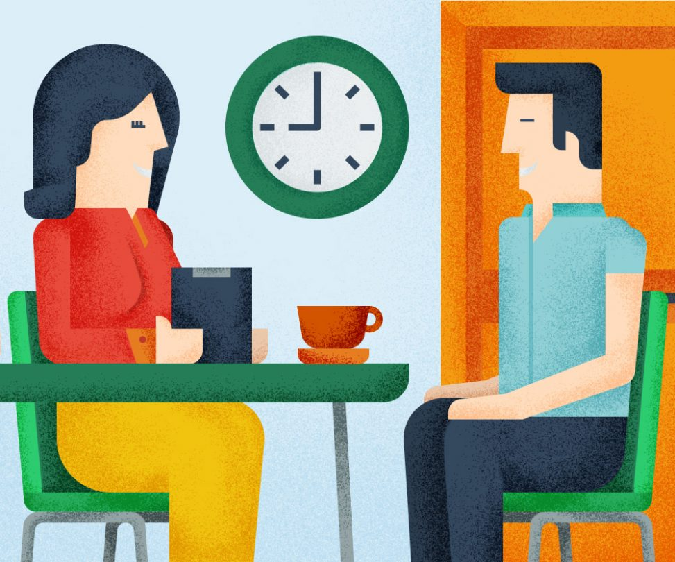 A woman operator interviewing a student guy, illustration by Francesco Faggiano illustrator
