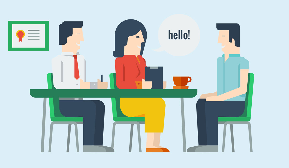 Two operators and a student guy talking about visa application, illustration by Francesco Faggiano illustrator