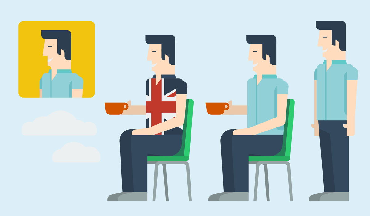 A guy taking a cup of tea with a uk shirt, illustration by Francesco Faggiano illustrator