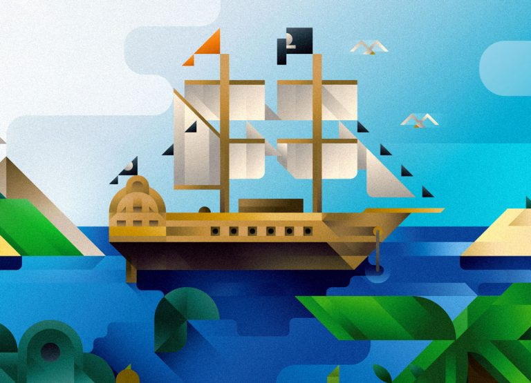 A pirate ship in Neverland bay, art print illustration by Francesco Faggiano illustrator