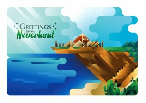 An indian camp with smoke signals on a cliff in Neverland postcard, art print illustration by Francesco Faggiano illustrator