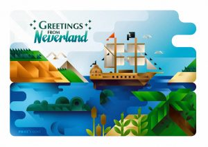 A crocodile and a pirate ship in Neverland bay postcard, art print illustration by Francesco Faggiano illustrator