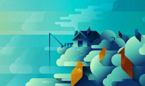 A small blue house on a huge cloud island in the sky and a flock of birds, art print illustration by Francesco Faggiano illustrator