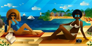 Beautiful young women in bikini relaxing at the beach, landscape editorial illustration by Francesco Faggiano illustrator