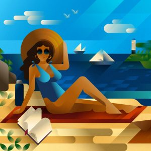 Beautiful young white woman in blue swimsuit reading a book at the beach, editorial illustration by Francesco Faggiano illustrator