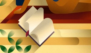Detail of an open book next to woman on the beach, illustration by Francesco Faggiano illustrator