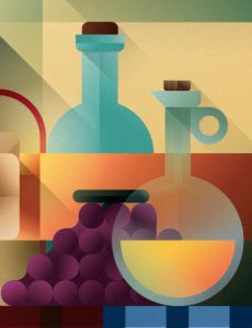 A table with grape, water and olive oil bottle, illustration by Francesco Faggiano illustrator