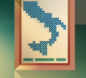 A canvas with embroidered shape of Italy, illustration by Francesco Faggiano illustrator