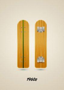 Old wooden skateboard model of the 60s, art print illustration by Francesco Faggiano illustrator