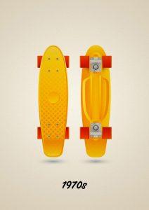 Vintage vinyl skateboard penny model of the 70s, art print illustration by Francesco Faggiano illustrator