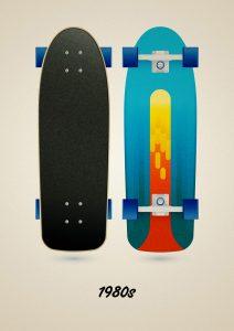Classic street skateboard model of the 80s, art print illustration by Francesco Faggiano illustrator