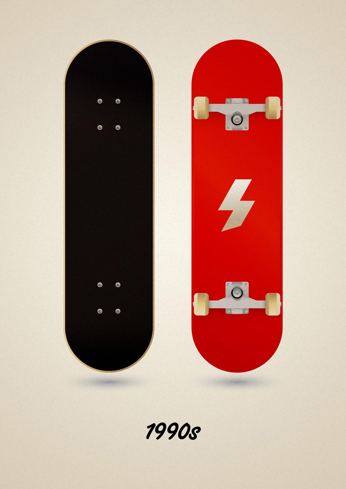 Modern street skateboard model of the 90s, art print illustration by Francesco Faggiano illustrator