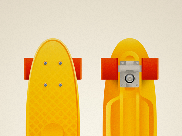 Vintage skateboard penny model of the 70s, art print illustration by Francesco Faggiano illustrator