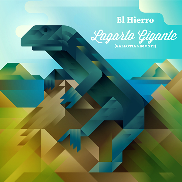 Lagarto gigante lizard standing on a rock, symbol of El Hierro island, art print illustration by Francesco Faggiano illustrator