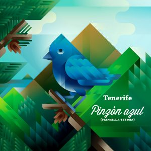 Pinzón azul bird on a tree with Teide mountain landscape, symbol of Tenerife island, art print illustration by Francesco Faggiano illustrator