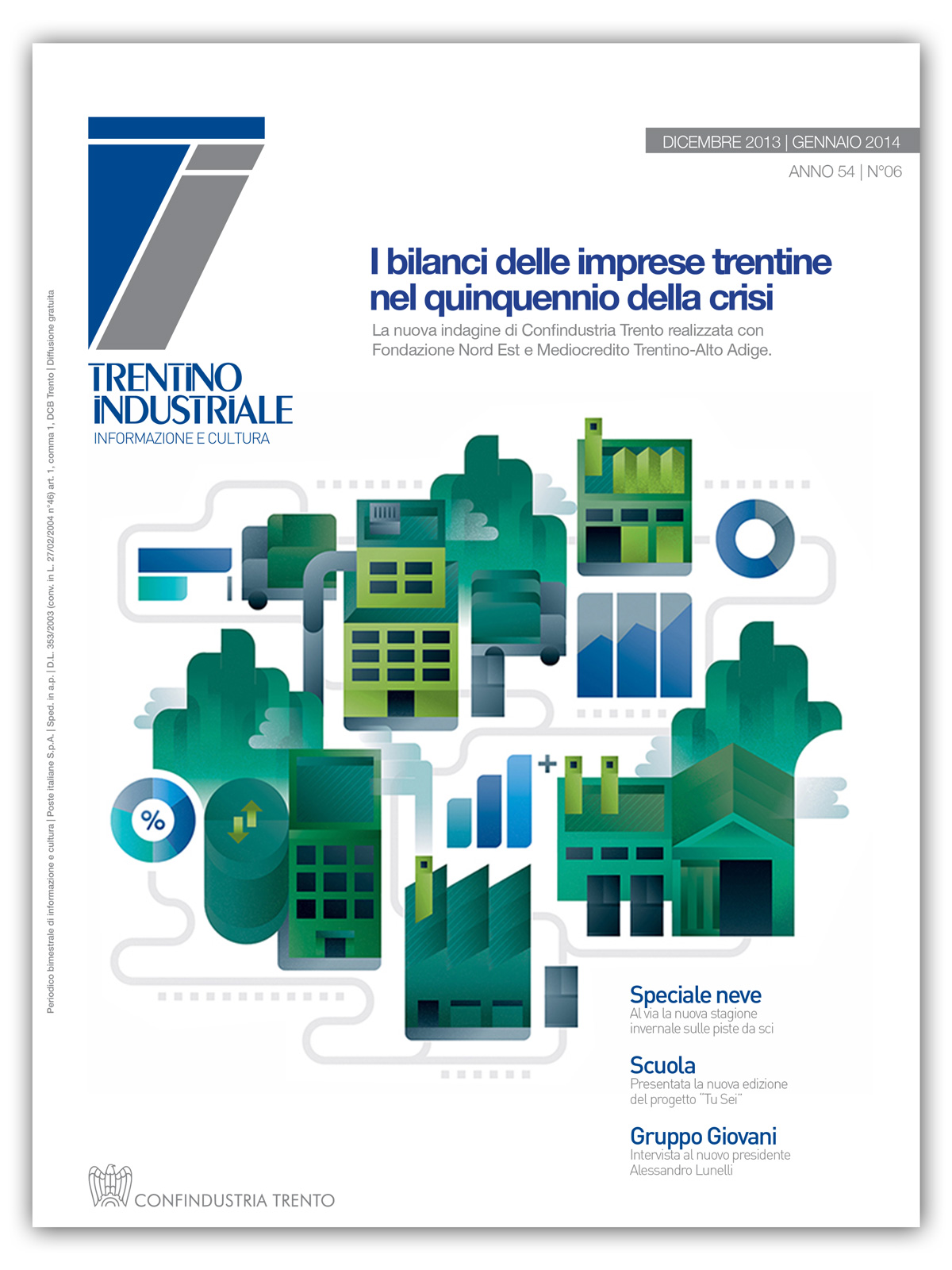 Cover image with an iconic representation of Trentino region of Italy with factories and industries and startups, illustration by Francesco Faggiano illustrator