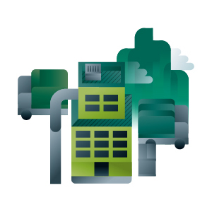 Green industry building and trucks icon, illustration by Francesco Faggiano illustrator