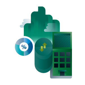 Green factory increasing statistics building icon, illustration by Francesco Faggiano illustrator