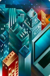 Some modern skyscrapers and a giant apple mackbook seen by night sky in isometric view, illustration by Francesco Faggiano illustrator
