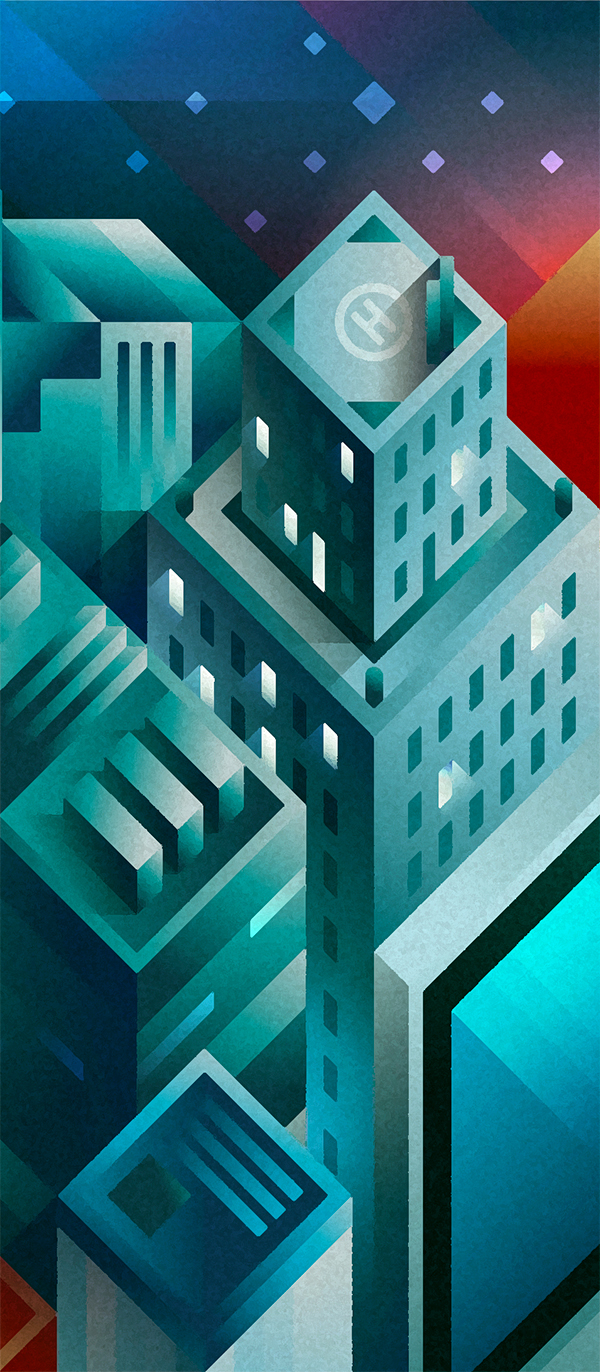 Some modern skyscrapers seen by night sky in isometric view, illustration by Francesco Faggiano illustrator