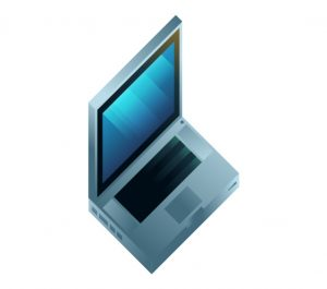 An apple macbook computer in isometric view, illustration by Francesco Faggiano illustrator