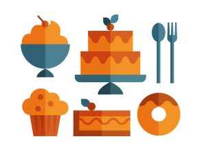 Cake icon set of ice cream, muffin, cake slice, donut and cutlery, illustration by Francesco Faggiano illustrator
