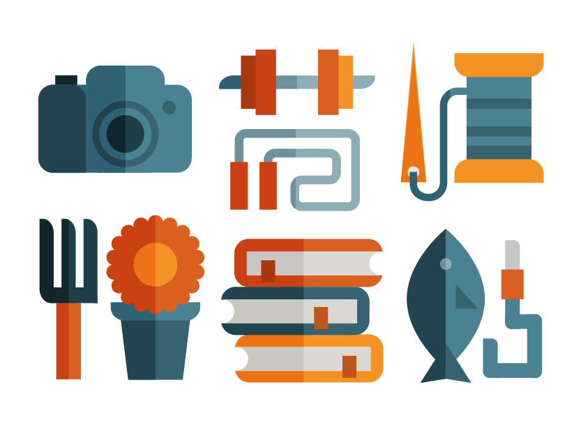 Hobby icon set of fishing, photography, fitness, gardening, needlework and reading, illustration by Francesco Faggiano illustrator