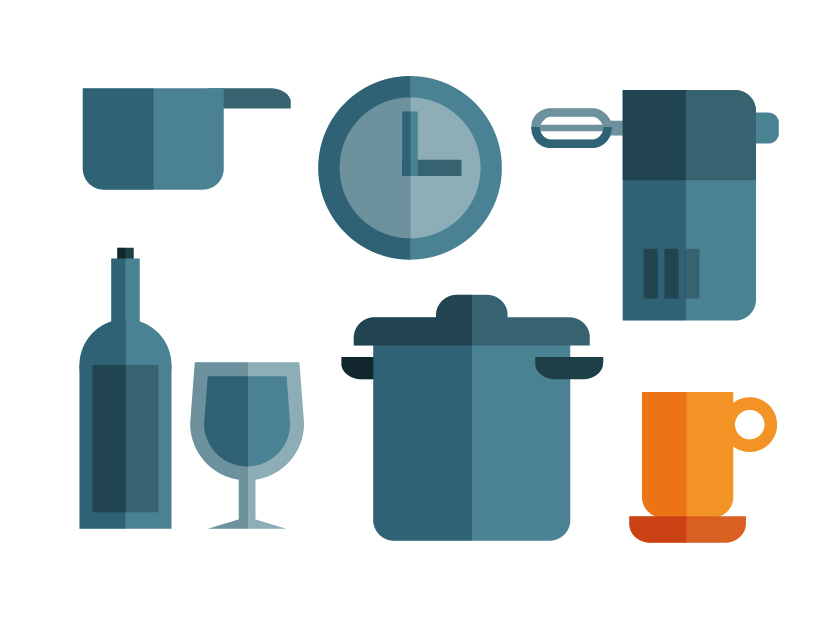 Kitchen icon set of cup, bottle, glass, timer, pots and whipper, illustration by Francesco Faggiano illustrator