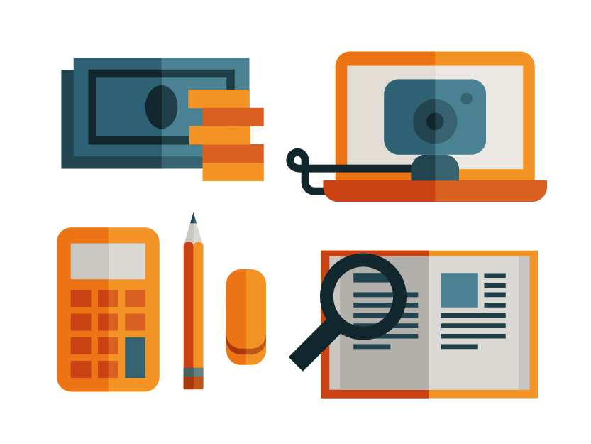 Work icon set of money, calculator, webcam and magnifier book, illustration by Francesco Faggiano illustrator